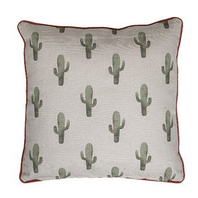 Bloomingville Cactus Square Reversible Cotton Cushion Green